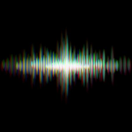 Shiny sound waveform with vibrating light aberrations Ilustração
