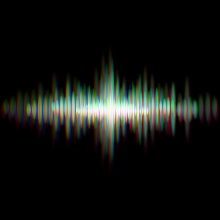 Shiny sound waveform with vibrating light aberrations Illustration