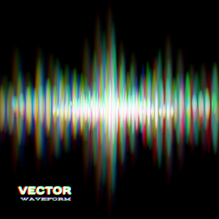 Shiny sound waveform with vibrating light aberrations Vector