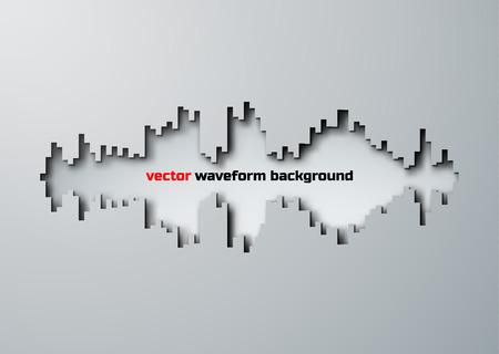 vibrations: Paper cut hole silhouette of sound waveform sign with shadow