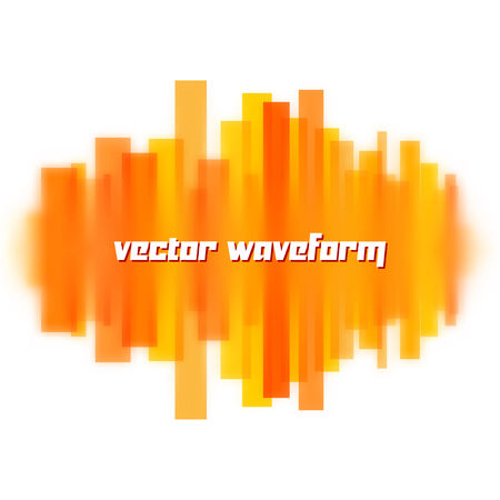 sine wave: Blurred vector waveform made of transparent orange lines