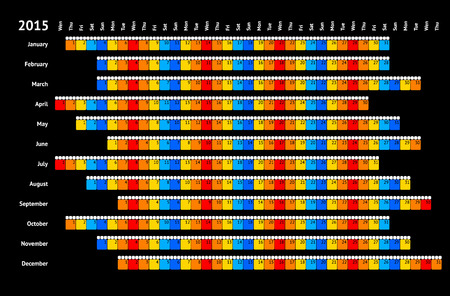 Black linear calendar 2015 with daily color coding Vector