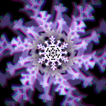 aberrations: Shiny christmas snowflake sign with color aberrations