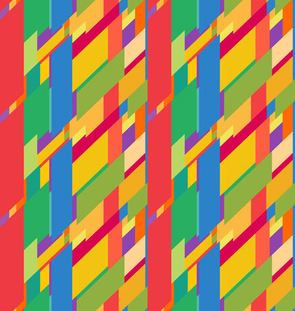 Flat colorful seamless pattern with chaotic skewed rectangles Vector