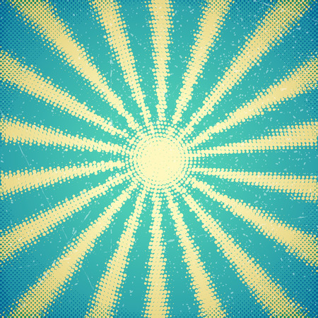 shine background: Vintage scratched card with halftone sun rays