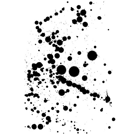 blotch: Black isolated ink blot with messy drops