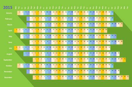 Green flat styled linear calendar 2015 with long shadow Vector