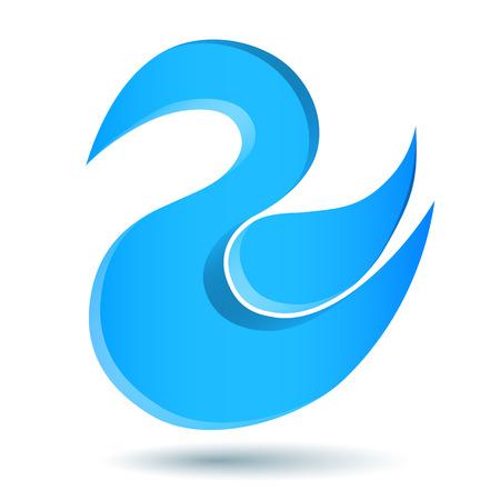 bird logo: Blue twitter bird logo with swirl shape