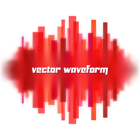 vibrations: Blurred vector waveform made of transparent red lines