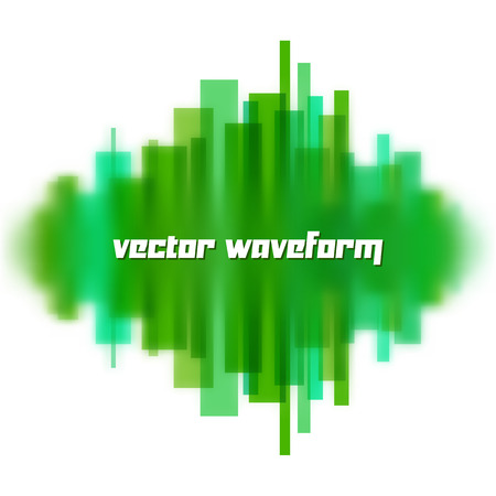 sine wave: Blurred vector waveform made of transparent green lines Illustration