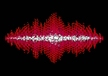 disperse: Sound waveform made of chaotic red balls