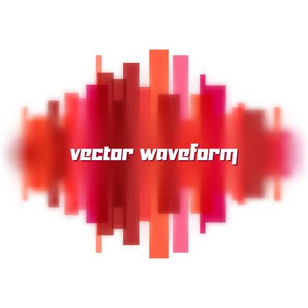 Blurred waveform made of transparent red lines
