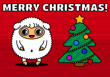 Sheep with christmas tree, sign of 2015 year Vector
