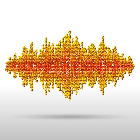 disperse: Sound waveform made of chaotic orange balls