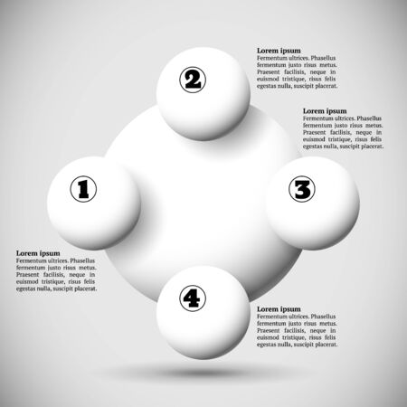 Infographics with group of flying numbered white balls Vector