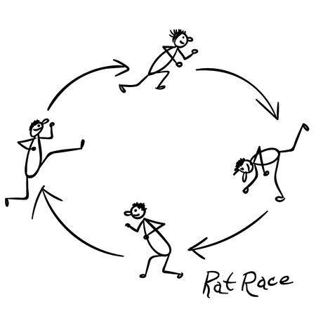 rat race: Sketch with people running rounds in rat race
