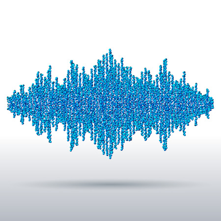 disperse: Sound waveform made of chaotic blue balls Illustration