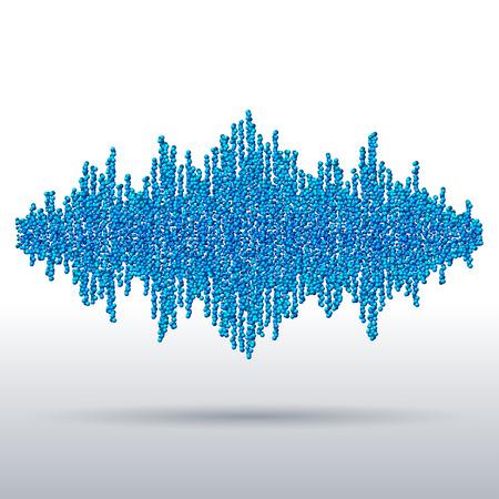 Sound waveform made of chaotic blue balls Illustration