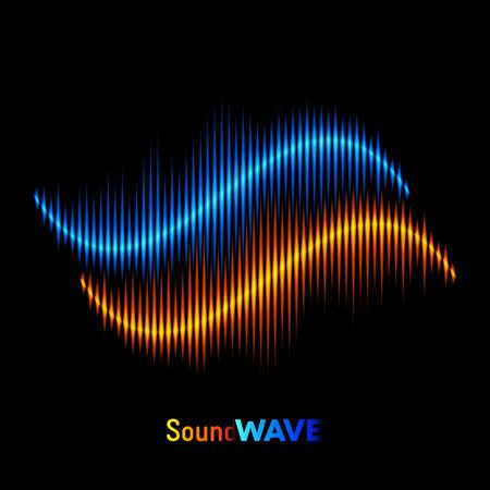 Blue and orange stereo sound or music waveform