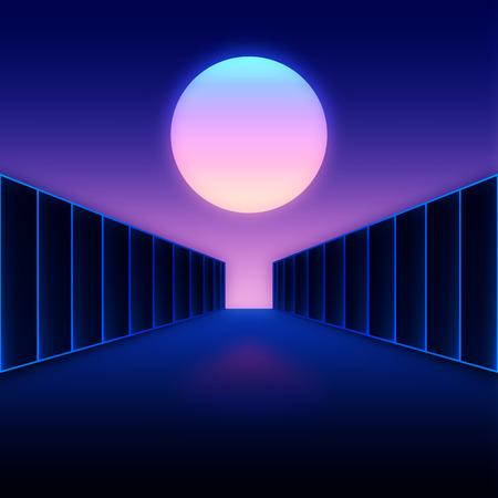 Retro styled digital futuristic landscape with moon and dark corridor gate Vector