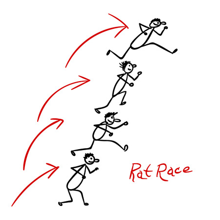 rat race: Sketch with people running over each other heads in rat race Illustration