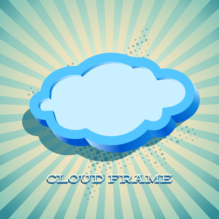 Retro card with cloud sign as text frame Vector
