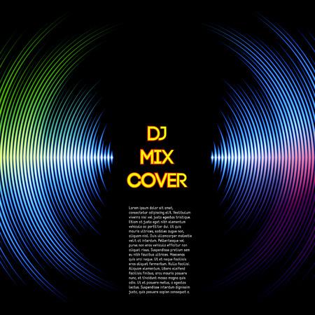 musica electronica: Mezclar DJ cubierta con forma de onda de la música como surcos de vinilo Vectores