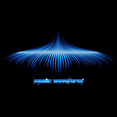 Sound golfvorm vormige blauw bord met vleugels Stock Illustratie