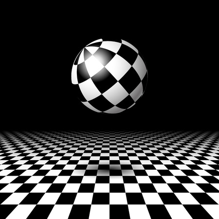 wonderland: Empty space with checkered floor and ball