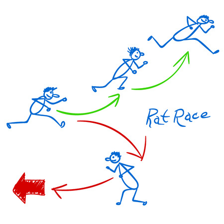 rat race: Sketch with people running right and wrong way in rat race