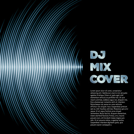 DJ mix cover with music waveform as a vinyl grooves Vector