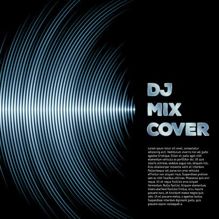 sonido: Mezclar DJ cubierta con forma de onda de la música como surcos del vinilo Vectores