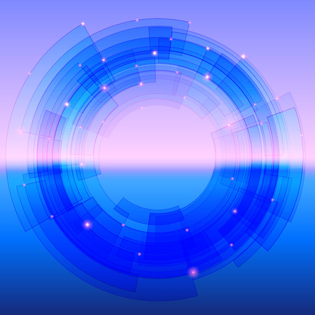 segmented: Retro-futuristic background with blue segmented circle and sparkles Illustration