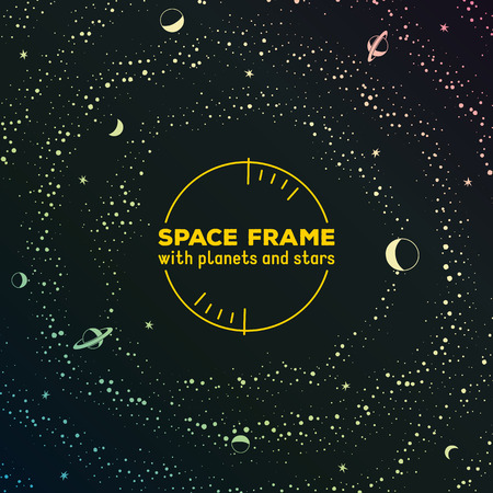 milky: Retro sci-fi frame with space, stars and planets