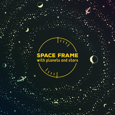 Retro Sci-Fi-Rahmen mit Platz, Sterne und Planeten Vektorgrafik