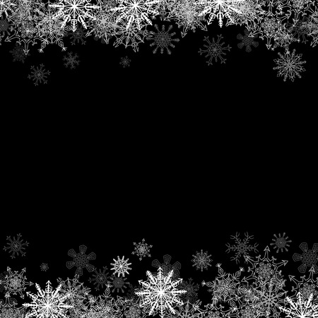 estrellas de navidad: Marco de la Navidad con los peque�os copos de nieve en capas en la parte superior e inferior Vectores