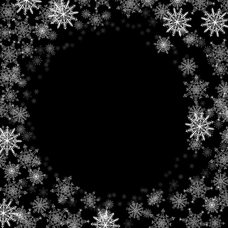 Round frame with small snowflakes layered around