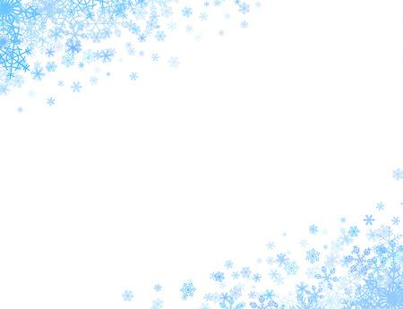 上部と下部の異なる小さな雪の結晶クリスマス コーナー