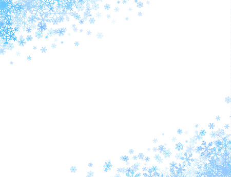 Christmas corners with different small snowflakes on top and bottom Ilustração