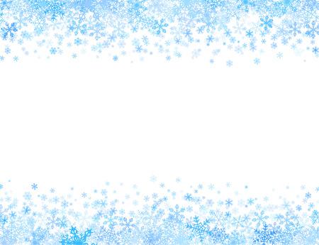 上部と下部に別の小さな雪片で水平フレーム