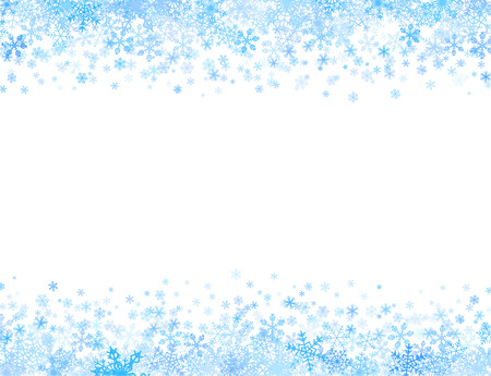 Horizontale frame met verschillende kleine sneeuwvlokken op boven- en onderkant Stock Illustratie