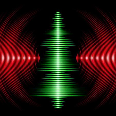 クリスマス ツリーとビニール溝音楽波形を持つカード