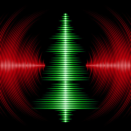 Card with music waveform as christmas tree and vinyl grooves