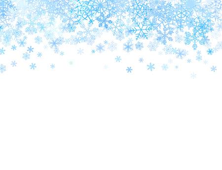 sapin neige: Carte de Noël avec différents flocons de neige sur le dessus Illustration