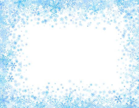 Christmas frame with different small snowflakes on top and bottom