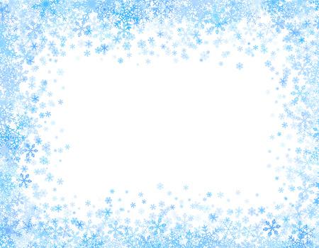 Kerstmis frame met verschillende kleine sneeuwvlokken op boven- en onderkant Stock Illustratie