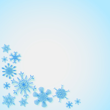 Rectangular frame with snowflakes in the corner