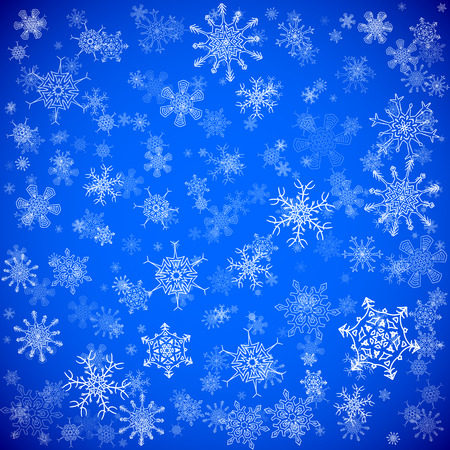 random: Blue Christmas background with different snowflakes falling Illustration