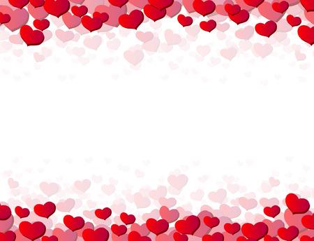 corazon: Tarjeta del día de San Valentín con los corazones dispersos en la parte superior e inferior