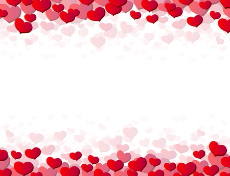 Valentines Day card with scattered hearts on top and bottom Ilustração